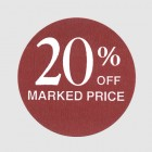 20 Percent Off Label