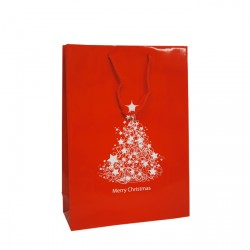250mm Red Stock Christmas Tree Paper Carrier Bags