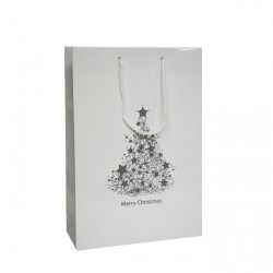 250mm White Christmas Tree Paper Carrier Bags