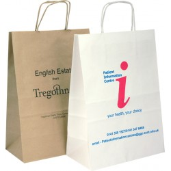 320mm Printed Paper Carrier Bags Brown or White Paper