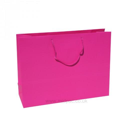 400mm Fuchsia Matt Laminated Paper Carrier Bags