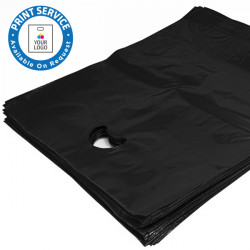 8x12in Black Polythene Carrier Bags