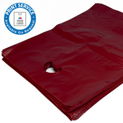 8x12in Burgundy Polythene Carrier Bags