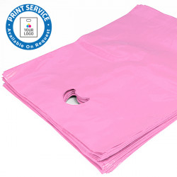 8x12in Pink Polythene Carrier Bags