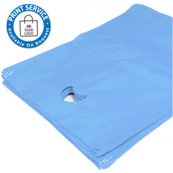 15x18in Sky Blue Polythene Carrier Bags
