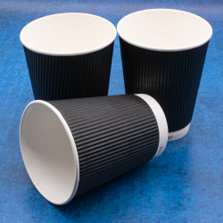 8oz Black Ripple Cups