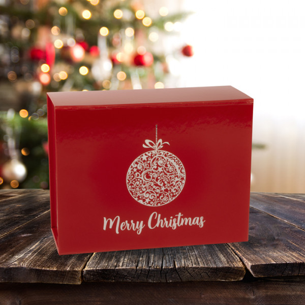 Christmas Boxes.160mm Red Bauble Christmas Boxes