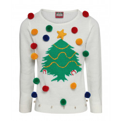 Ladies White Christmas Tree Jumper