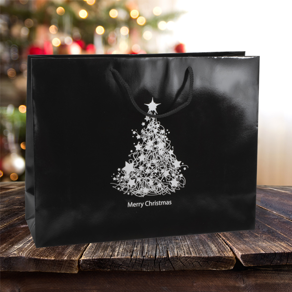 Christmas Tree Bags.410mm Black Christmas Tree Paper Carrier Bags