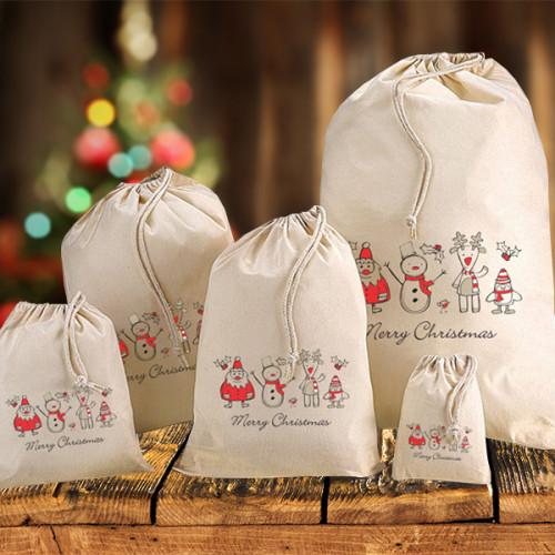Festive Christmas Cotton Sacks