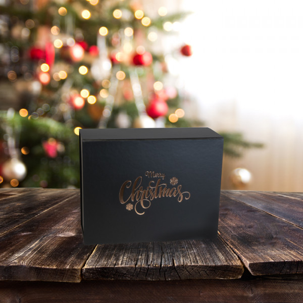Merry Christmas Gift.Merry Christmas Black Gift Box 120mm