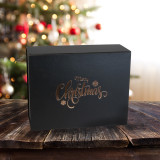 Merry Christmas Black Gift Box 160mm