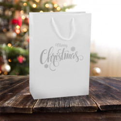 250mm White Merry Christmas Gift Bags