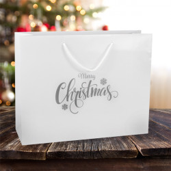 410mm White Merry Christmas Gift Bags