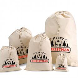 Merry Christmas Cotton Drawstring Bags