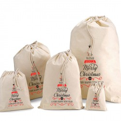 Christmas Tree Cotton Drawstring Bags