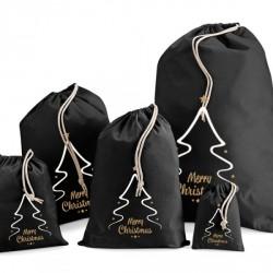 Merry Christmas Black Cotton Sacks