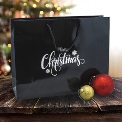 410mm Merry Christmas Black Paper Carrier Bags *Silver Prt*