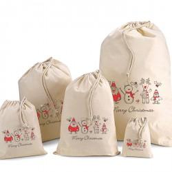 Festive Christmas Cotton Drawstring Bags
