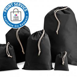 100mm Black Cotton Drawstring Bags