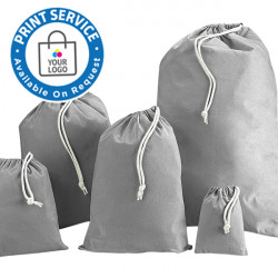 100mm Grey Cotton Drawstring Bags