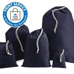 100mm Navy Cotton Drawstring Bags