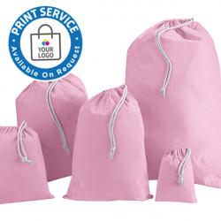 100mm Pink Cotton Drawstring Bags