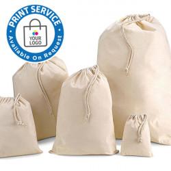 100mm Natural Cotton Drawstring Bags