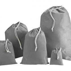 Grey Cotton Drawstring Bags