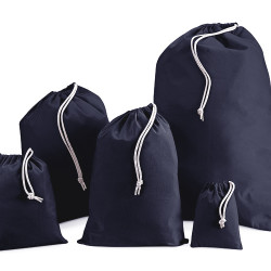 100mm Navy Cotton Drawstring Bags