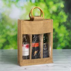 Three Bottle Jute Bags