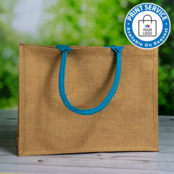 Jute Bags With Blue Handles