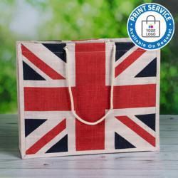 White Union Jack Jute Bags
