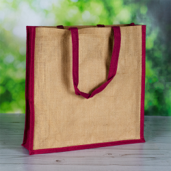 410mm Natural Jute Bags Pink Side Panels