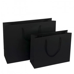 300mm Black Paper Carrier Bags