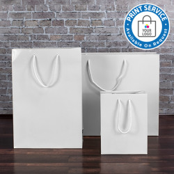 160mm White Gloss Laminated Paper Carrier Bags