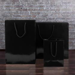 160mm Black Gloss Paper Carrier Bags