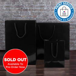 250mm Black Gloss Paper Carrier Bags