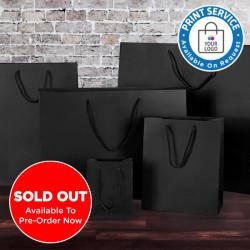 200mm Black Matt Laminated Paper Carrier Bags