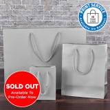 200mm Silver Matt Laminated Paper Carrier Bags