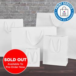 200mm White Matt Laminated Paper Carrier Bags