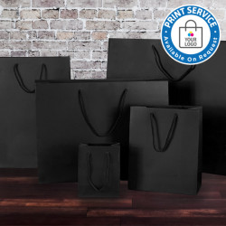 115mm Black Matt Laminated Paper Carrier Bags