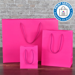 115mm Fuchsia Matt Laminated Paper Carrier Bags