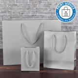 115mm Silver Matt Laminated Paper Carrier Bags