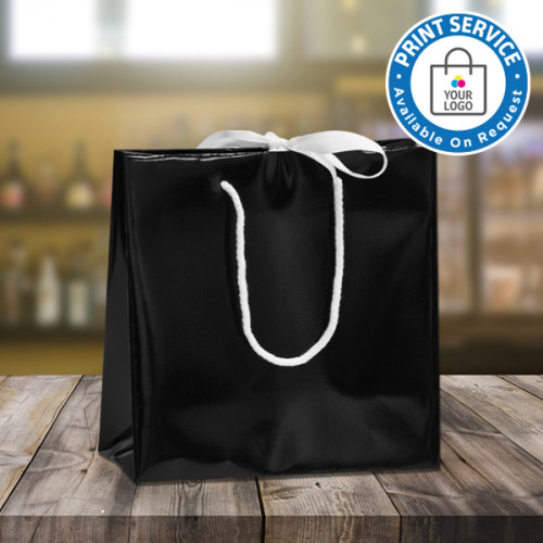 Large Black Ribbon Tie Laminated Carrier Bags