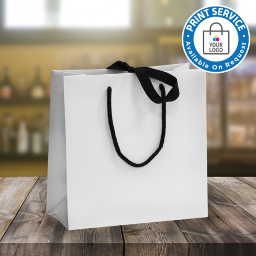 Small White Ribbon Tie Laminated Carrier Bags