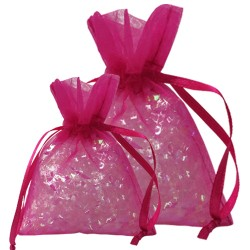 Shocking Pink Organza Bags