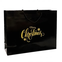 Merry Christmas Black Paper Carrier Bags