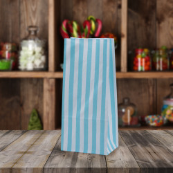 Aqua White Striped Pick n Mix Paper Bags