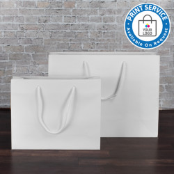300mm White Paper Carrier Bags